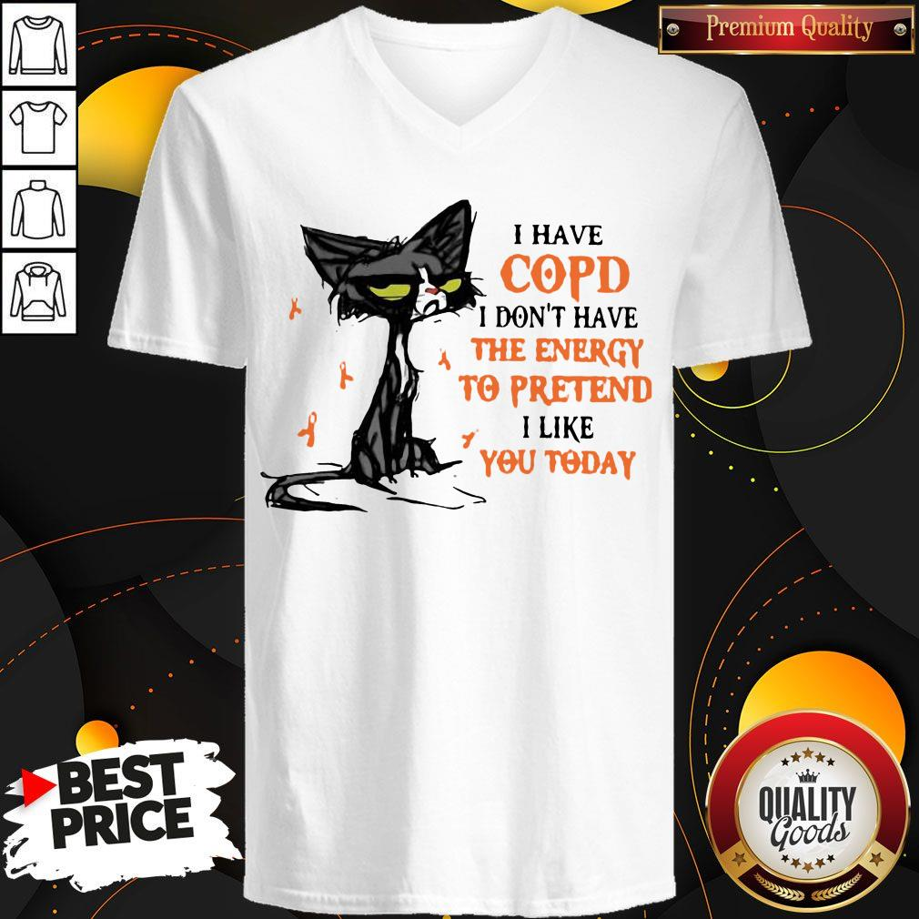 Black Cat I Have Copd I Don't Have The Energy To Pretend I Like You Today V-neck