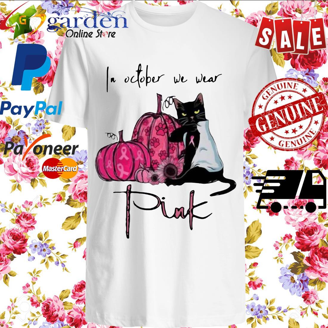 Black cat pumpkin breast cancer awareness in October we wear pink Halloween 2020 Shirt