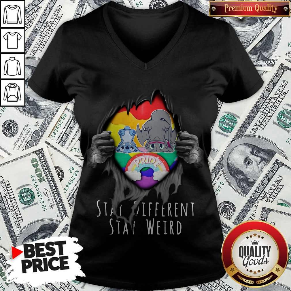 Blood Inside Me Stitch And Night Fury Stay Different Stay Weird V-neck