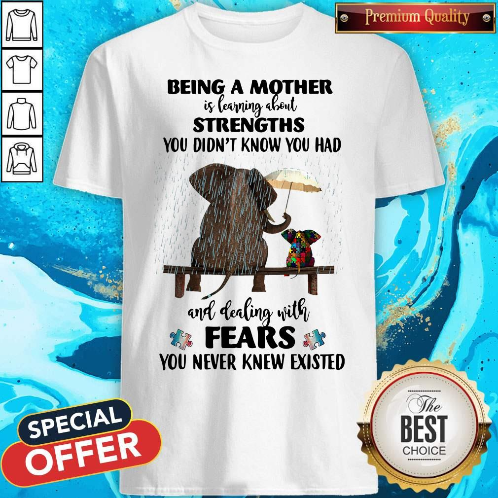 Funny Elephant Being A Mother Strengths Autism Shirt