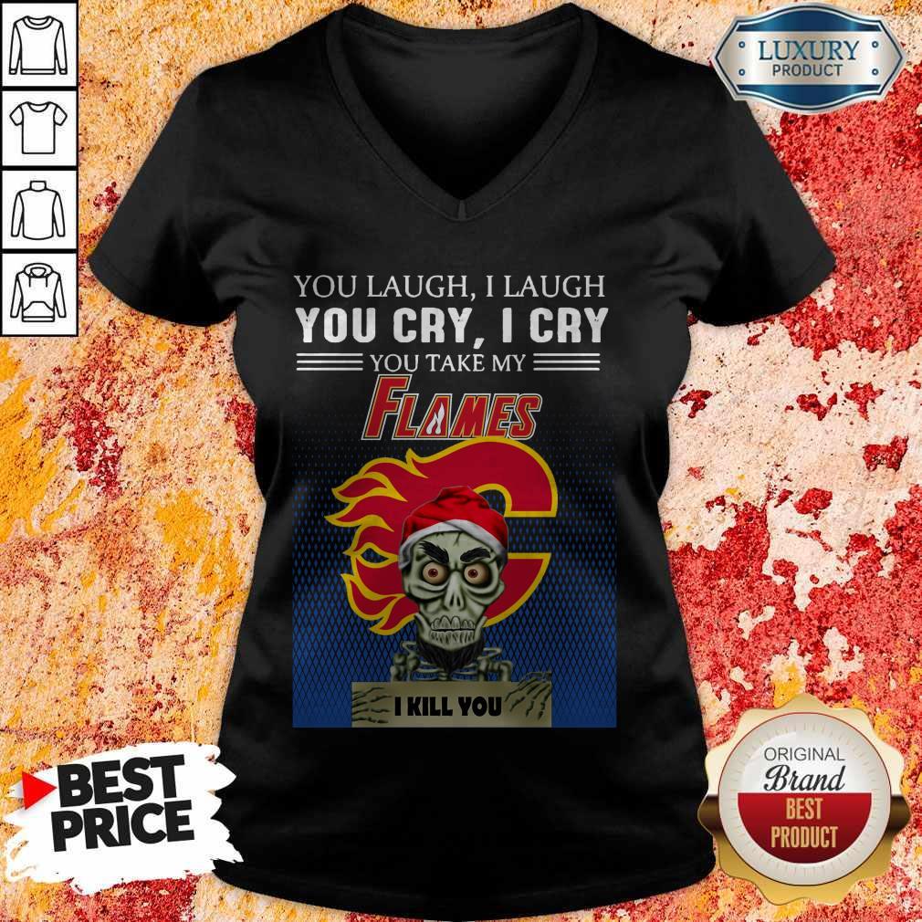 Funny Jeff Dunham Achmed You Laugh I Laugh You Cry Calgary Flames Logo V-neck