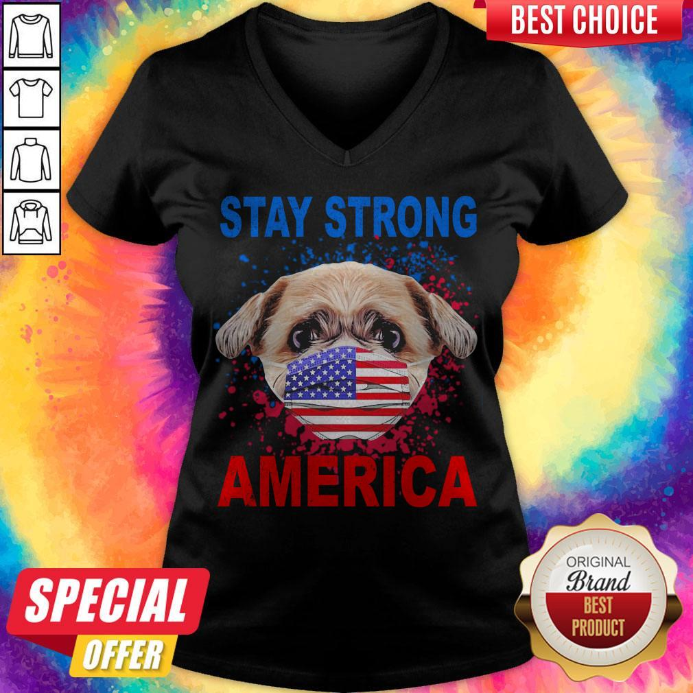 Funny Shih Tzu Face Mark Stay Strong America V-neck