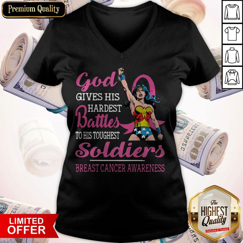 God Gives His Hardest Battles To His Toughest Soldiers Breast Cancer Awareness V-neck