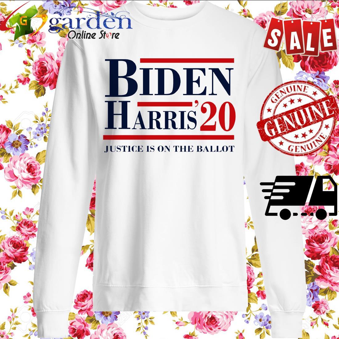 Joe Biden Kamala Harris 2020 Justice Is On The Ballot Shirt Tank Top V Neck For Men And Women
