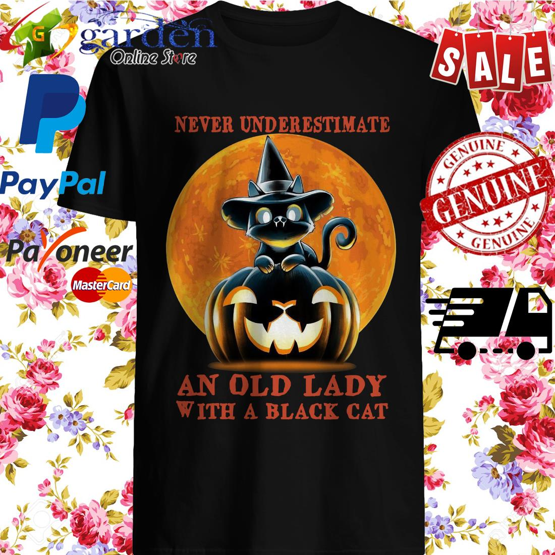 Never Underestimate An Old Lady With A Black Cat Retro shirt