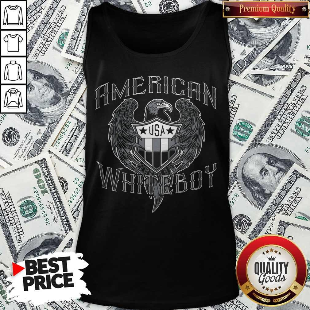 Nice American White Boy Eagle Flag Shield Usa Tank Top
