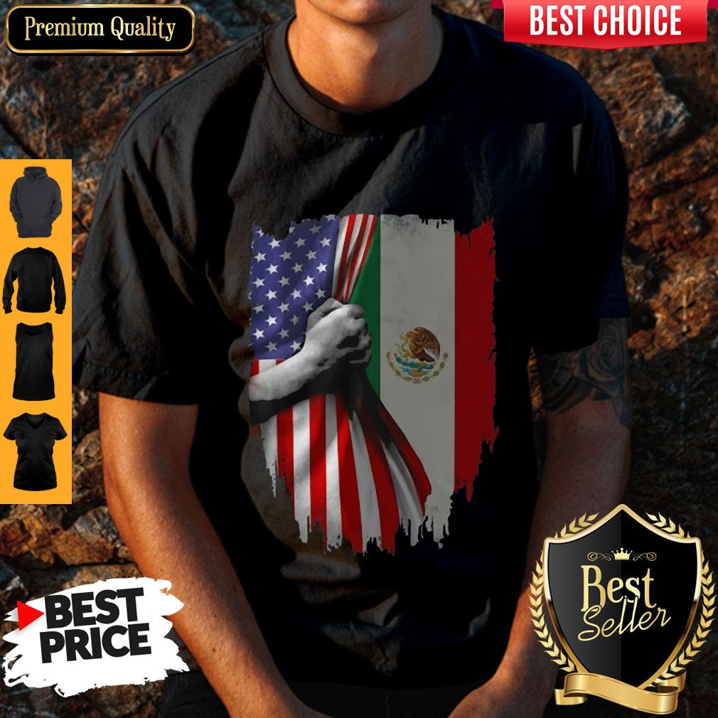 Nice Mexico And American Flag Veteran Independence Day hand Shirt