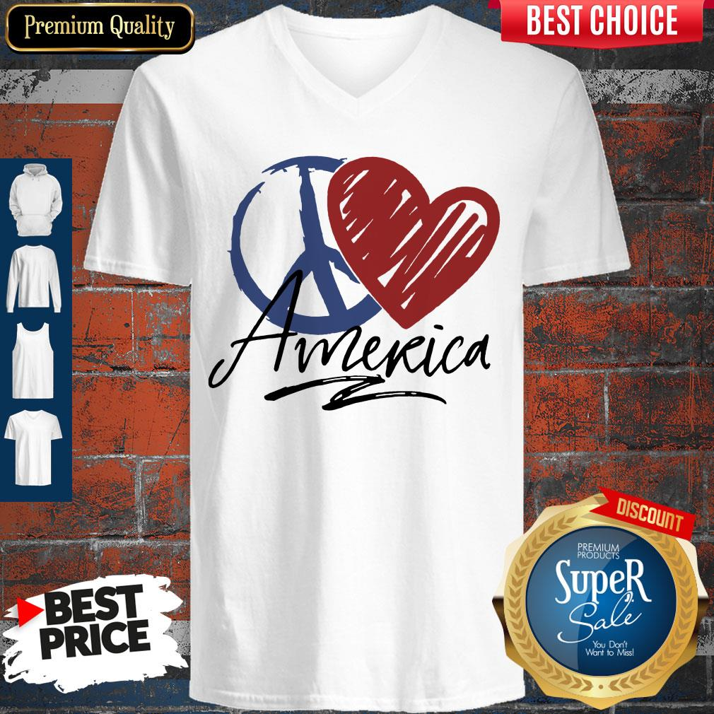Nice Peace Love American Flag V-neck