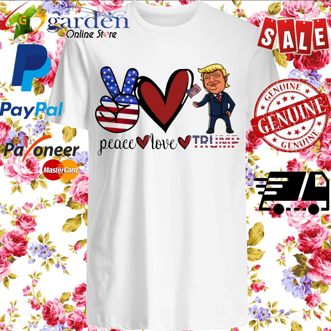 Peace Love Trump American Flag Shirt