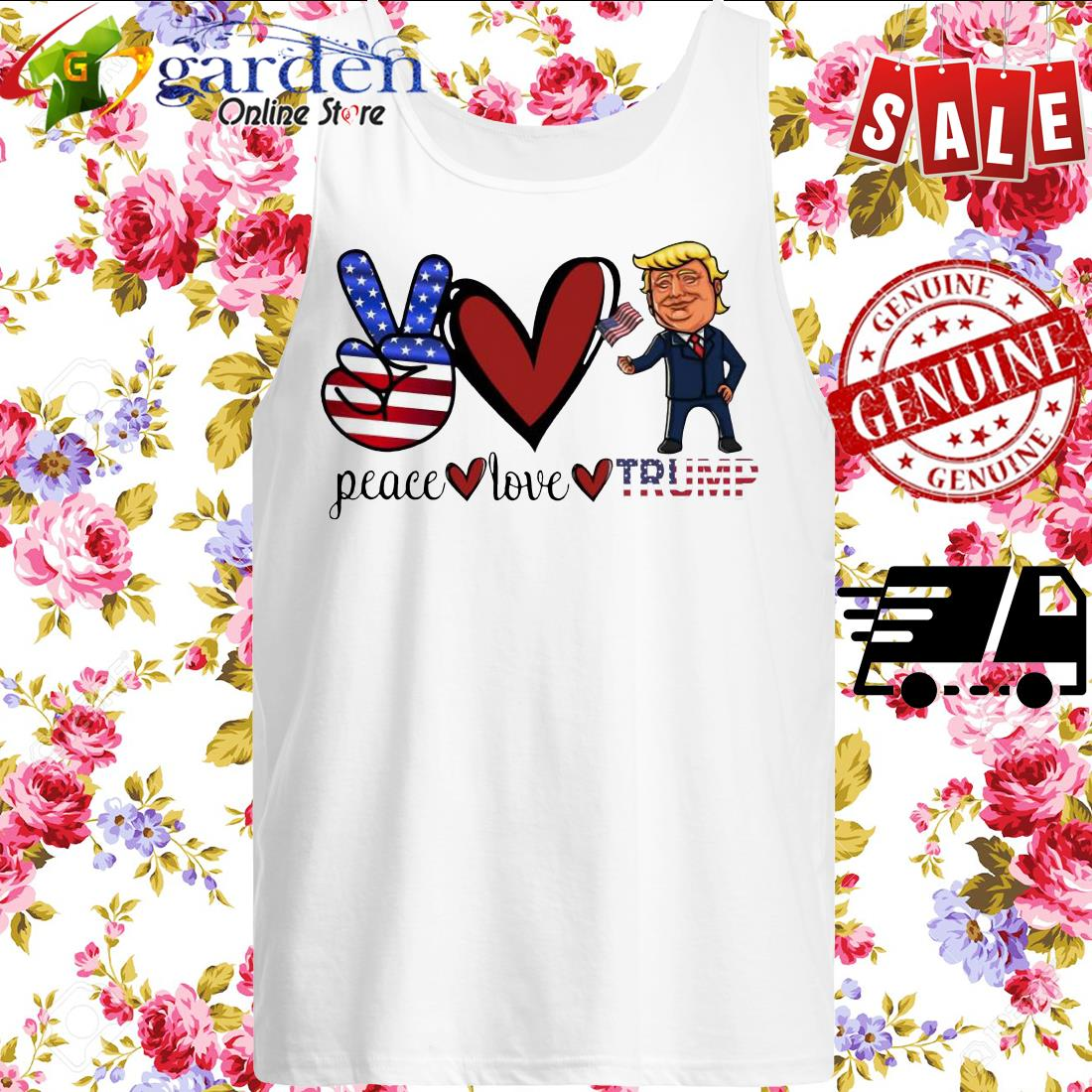 Peace Love Trump American Flag tank top