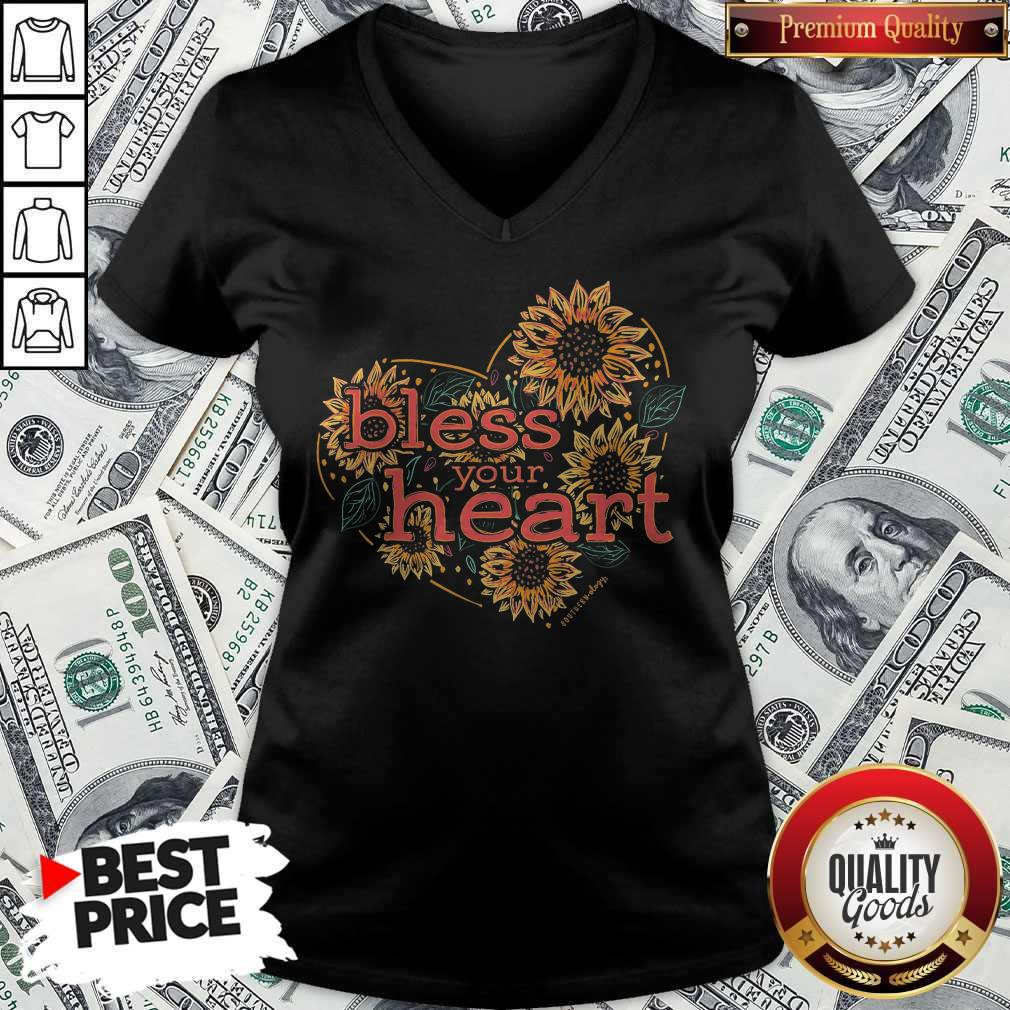 Premium Bless Your Heart Sunflowers Short Sleeve V-neck