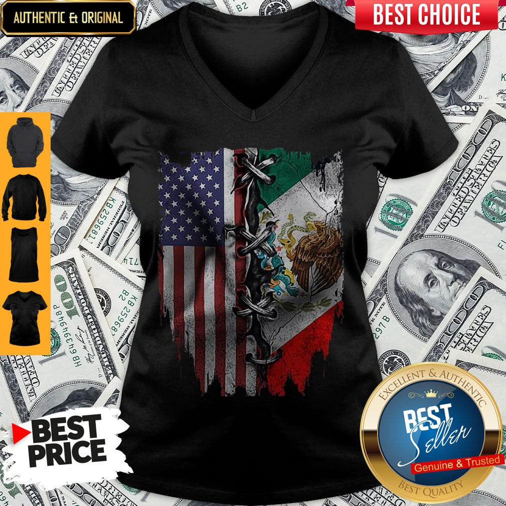 Premium Mexican And American Flag V-neck