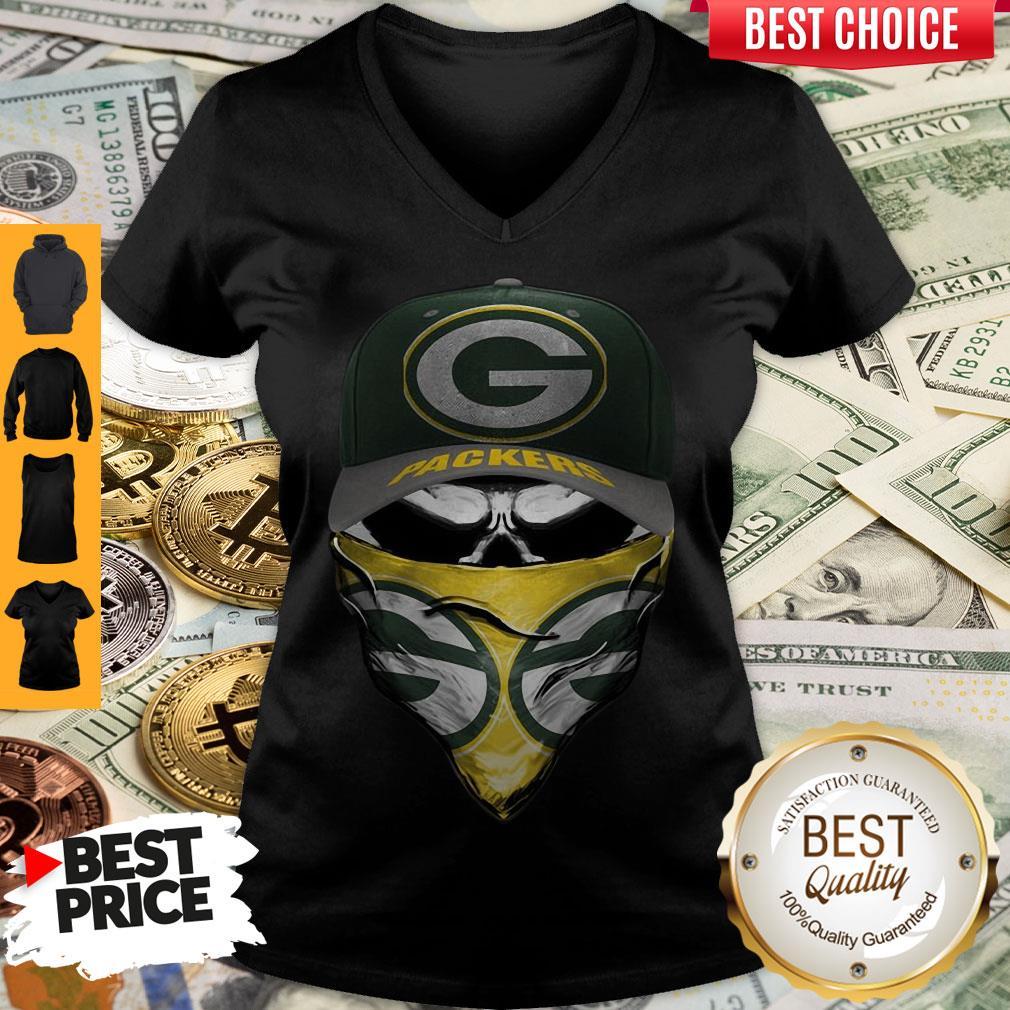 Premium Skull Face Mask Green Bay Packers Logo V-neck