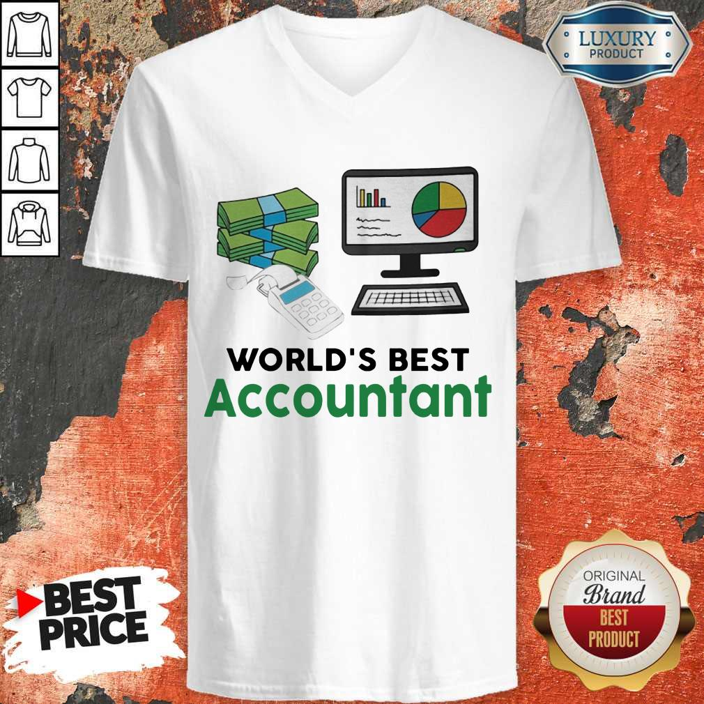 Premium Worlds Best Accountatn Computer Bill Money V-neck