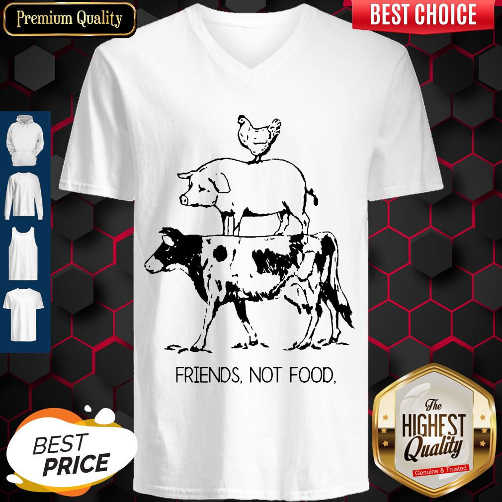 Pretty Animal Chicken Pig Cow Friends Not Food V-neck