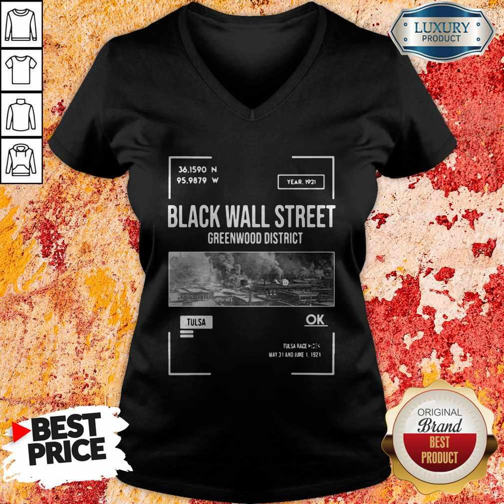 Pretty Black Wall Street Greenwood Tulsa Oklahoma V-neck