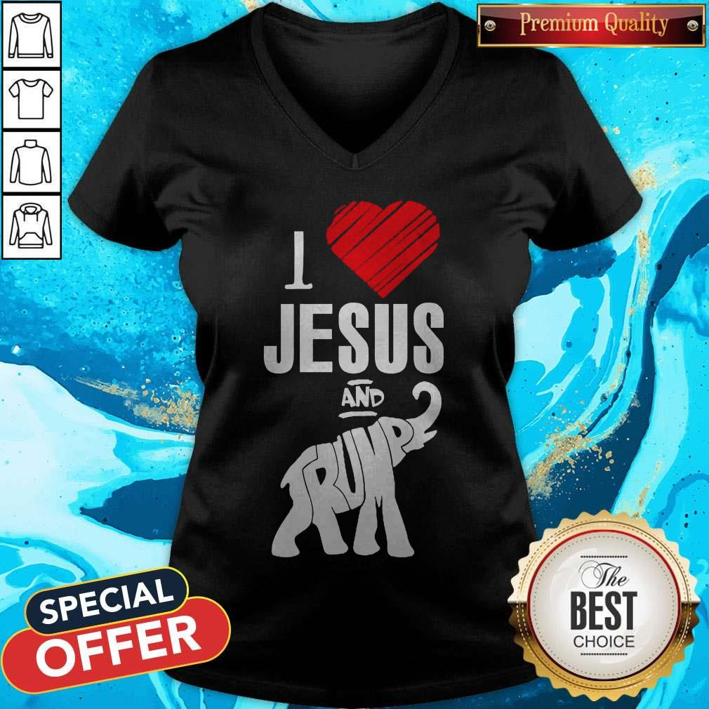 Pretty Elephant I Love Jesus And Trump V-neck
