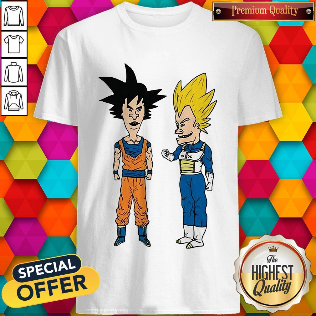 Pretty Metallic Son Goku And ACDC Vegeta Shirt