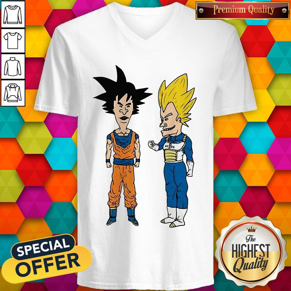 Pretty Metallic Son Goku And ACDC Vegeta V-neck
