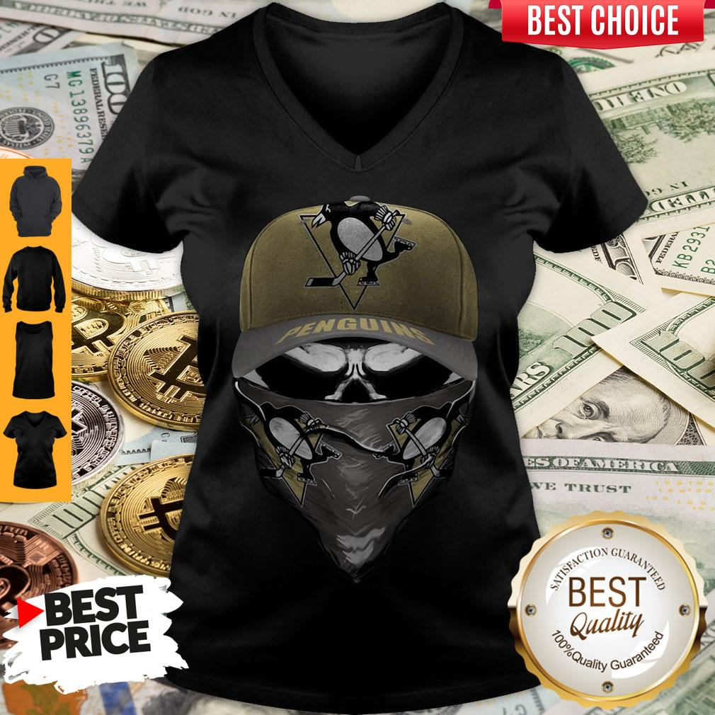 Pretty Skull Face Mask Pittsburgh Penguins Logo V-neck
