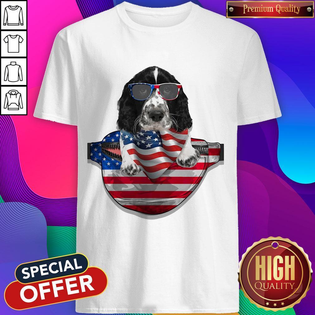 Springer Spaniel Waist Pack Flag American Flag Independence Day Shirt