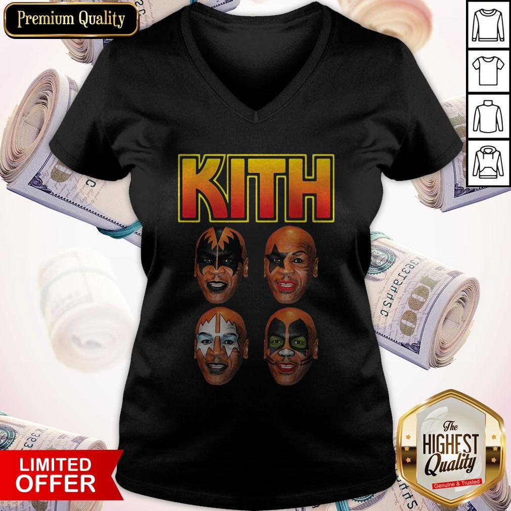 Top Kith Kiss Rock Mike Tyson V-neck