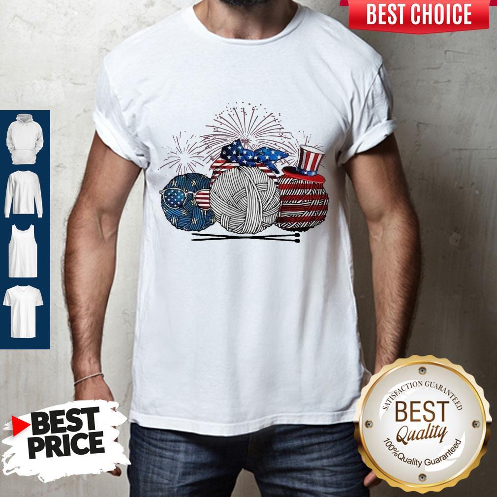 Top Knitting Yarn Firework American Independence Day Shirt