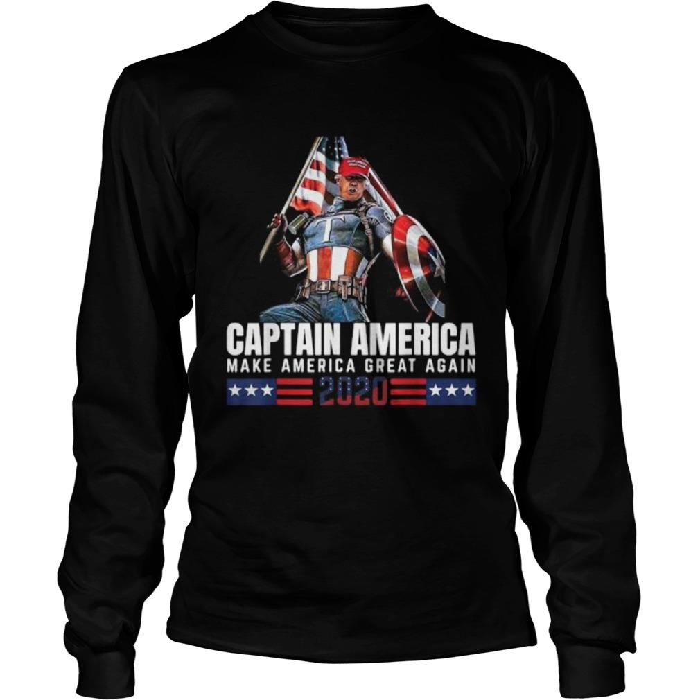 Trump Captain America Make America Great Again 2020 America Flag  Long Sleeve