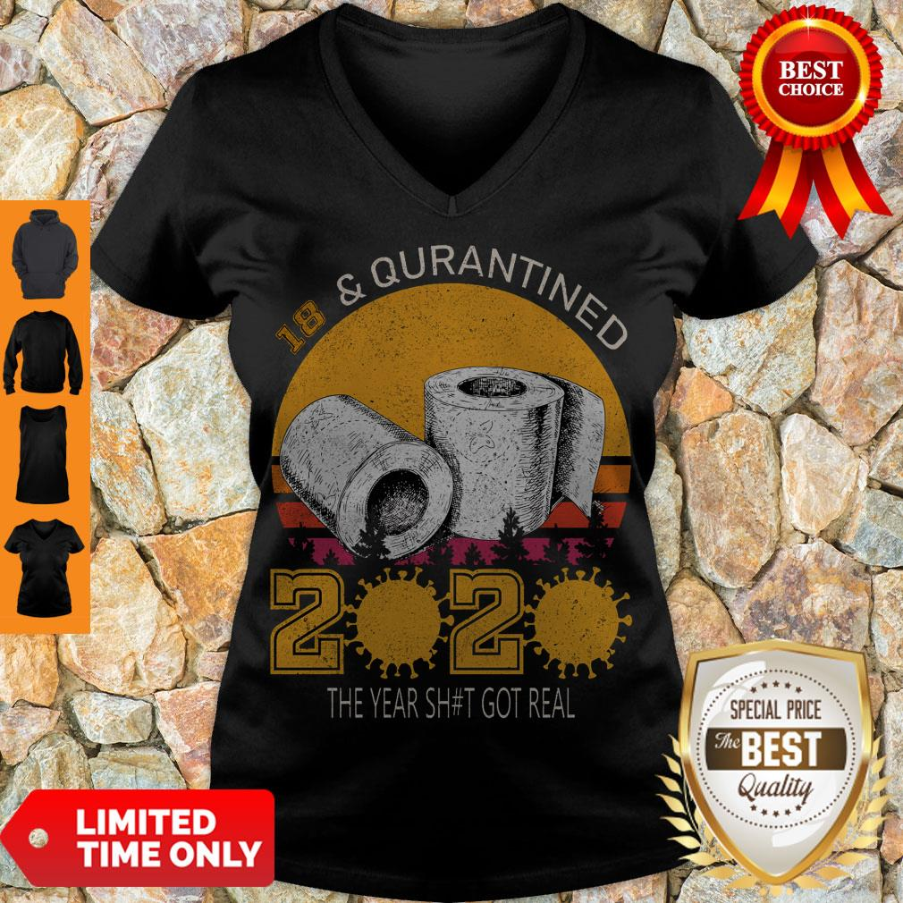 18 And Quarantined 2020 The Year Sh#t Got Real Born In 2002 Vintage Birthday Social Distancing Bday Top Birthday Gift V-Neck