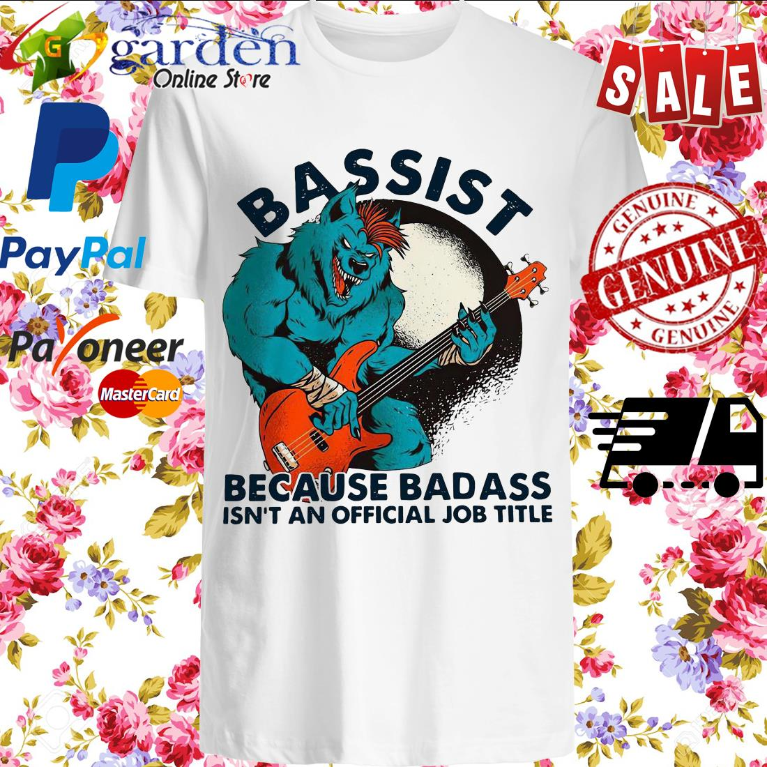 Wolf Playing Guitar Bassist Because Badass Isn't And Official Job Title Shirt