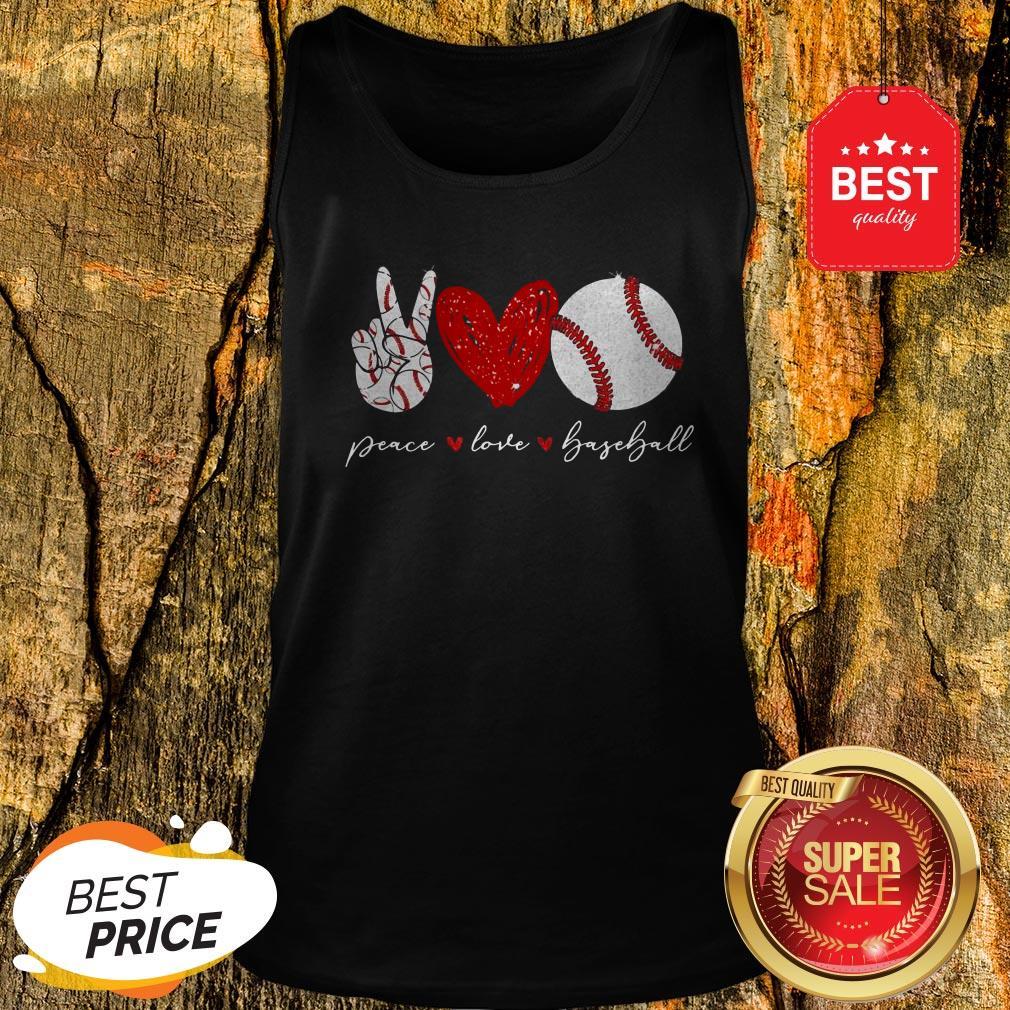 Official Diamond Peace Love Baseball Tank Top