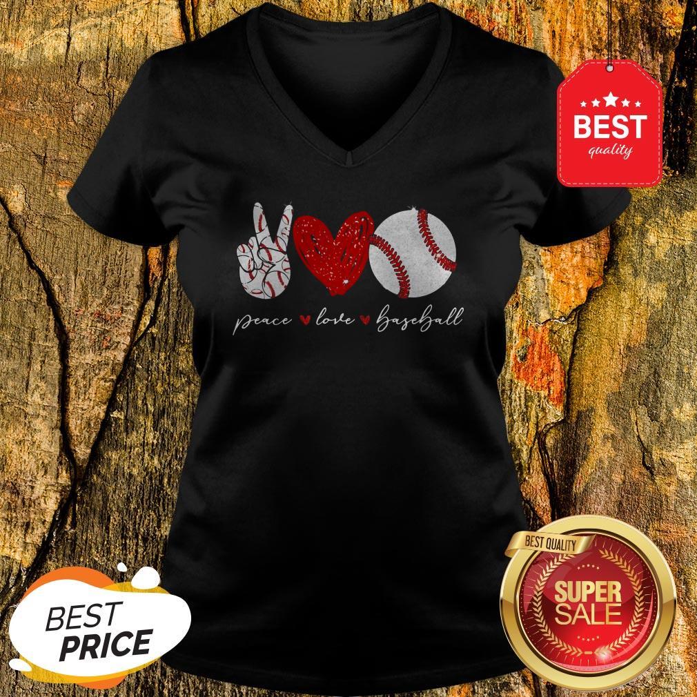Official Diamond Peace Love Baseball V-Neck