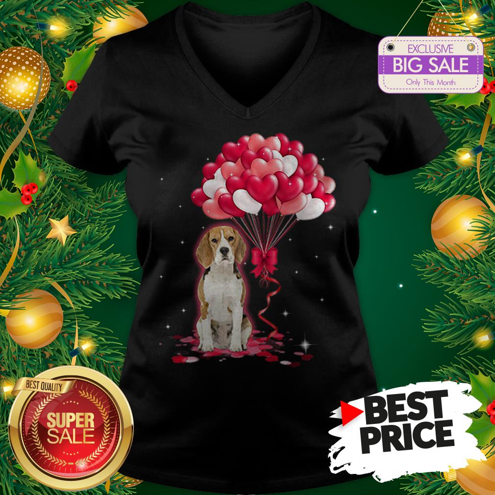 Wonderful Beagle Dog Love Balloons Heart V-neck