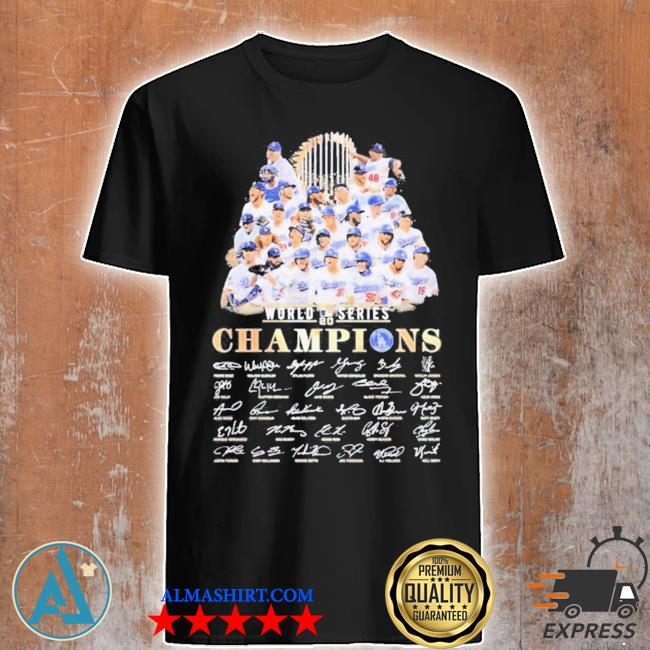 All Los angeles dodgers team member player world 2020 series champions signatures shirt