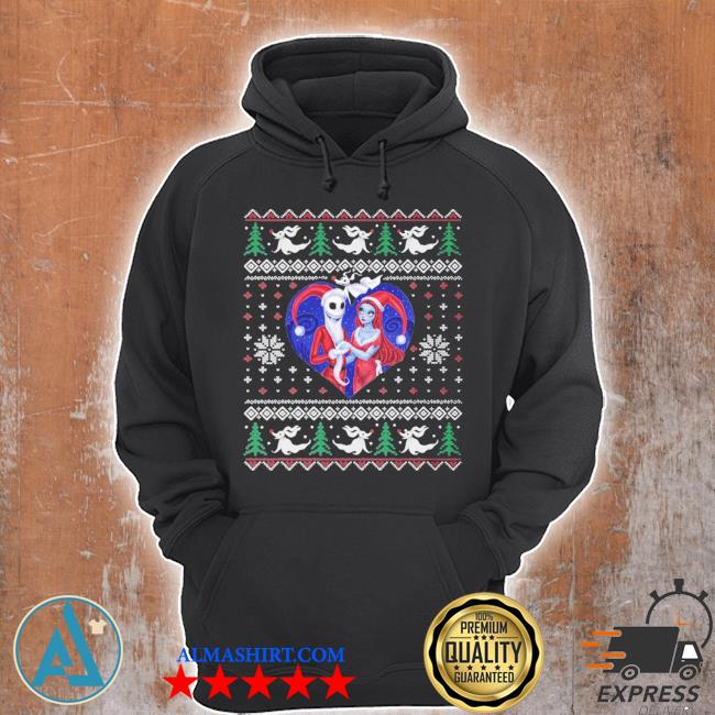 jack and sally in a heart ugly christmas sweater Unisex Hoodie