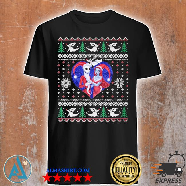 jack and sally in a heart ugly christmas sweater