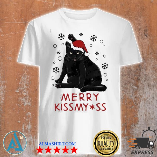 Santa black cat merry christmas kiss my ass ugly sweater
