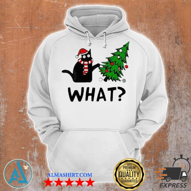 Santa black cat what christmas tree sweater Unisex Hoodie