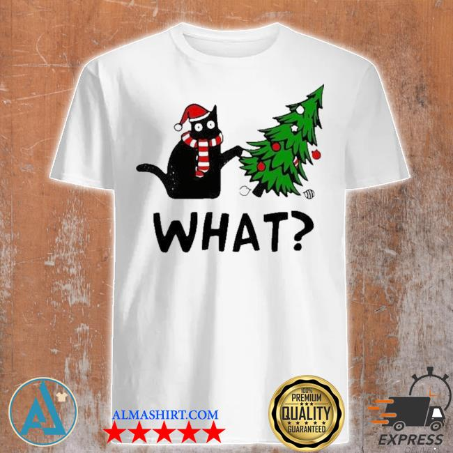Santa black cat what christmas tree sweater