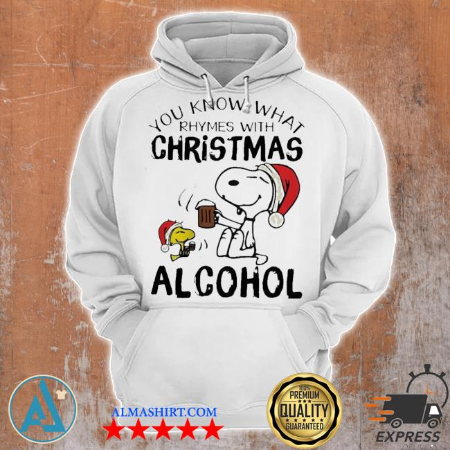 Snoopy and woodstock you know what rhymes with christmas alcohol sweater Unisex Hoodie