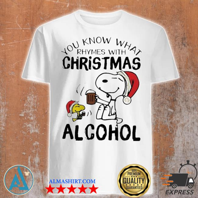 Snoopy and woodstock you know what rhymes with christmas alcohol sweater