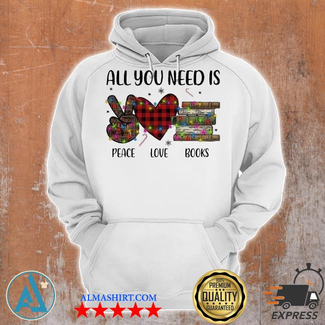 All you need is a peace love books merry Christmas light sweater Unisex Hoodie