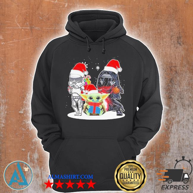 Baby yoda and darth vader stormtrooper merry Christmas sweater Unisex Hoodie