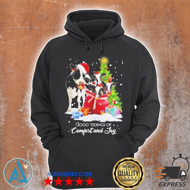 Cows santa good tiding of comfort and joy merry Christmas tree sweater Unisex Hoodie
