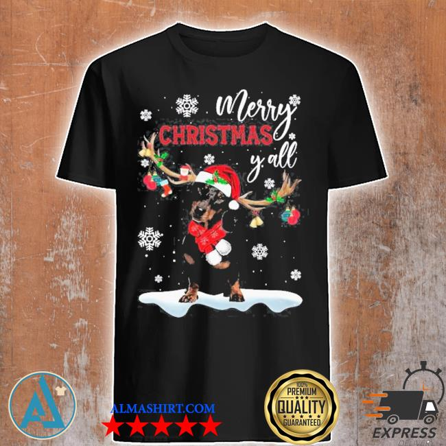 Dachshund santa reindeer merry christmas y'all ugly christmas sweater