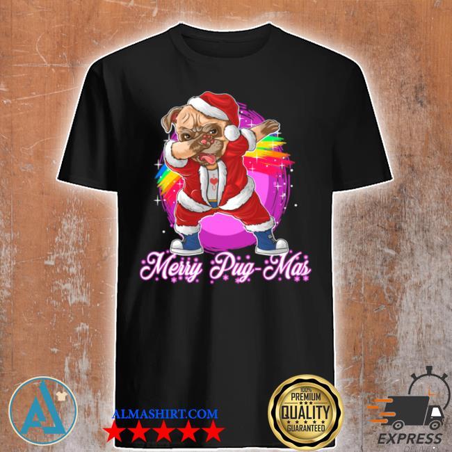 Merry pugmas dabbing pug santa shirt