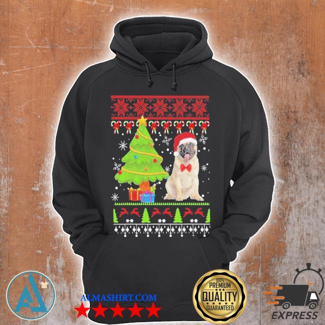 Pug santa ugly merry Christmas tree sweater Unisex Hoodie