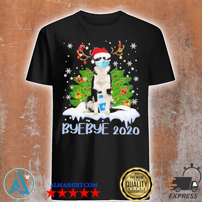 Santa bernese mountain dog face mask bye bye 2020 merry Christmas tree sweater