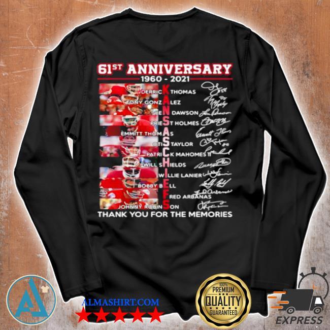 61st anniversary 1960 2021 Kansas Chiefs signature s Unisex longsleeve