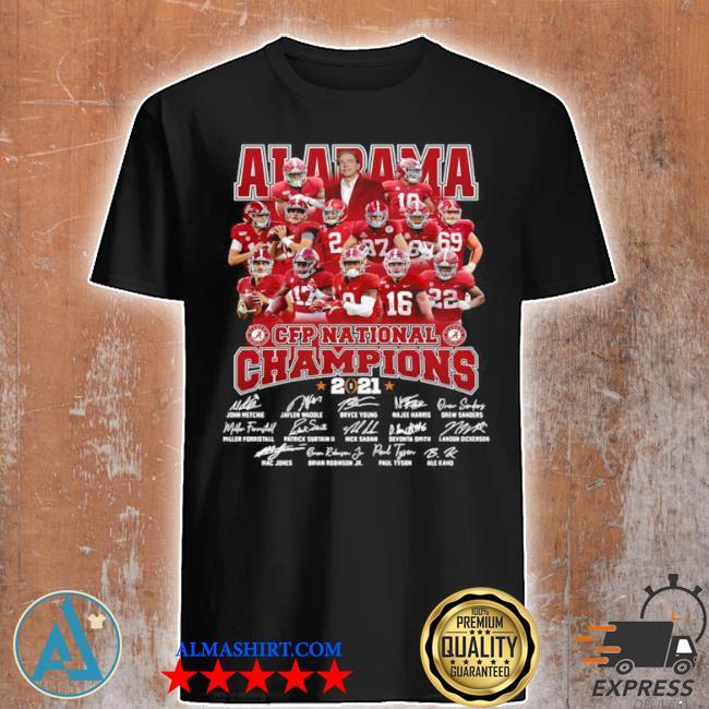 Alabama crimson tide team players cfp national champions 2021 signatures shirt